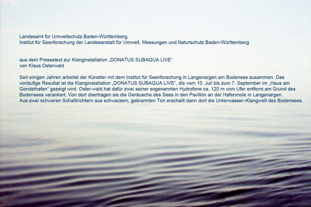 Klaus Osterwald, Klanginstallation im IFS, Pressetext